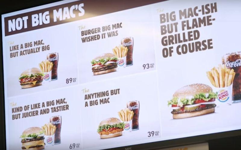 Burger King's Big Mac Reclame – dikke vinger richting McDonalds