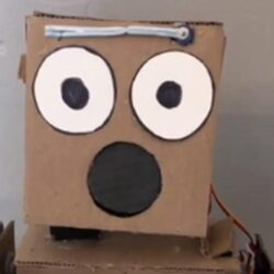 Kartonnen robot doet het goed als goochelaar