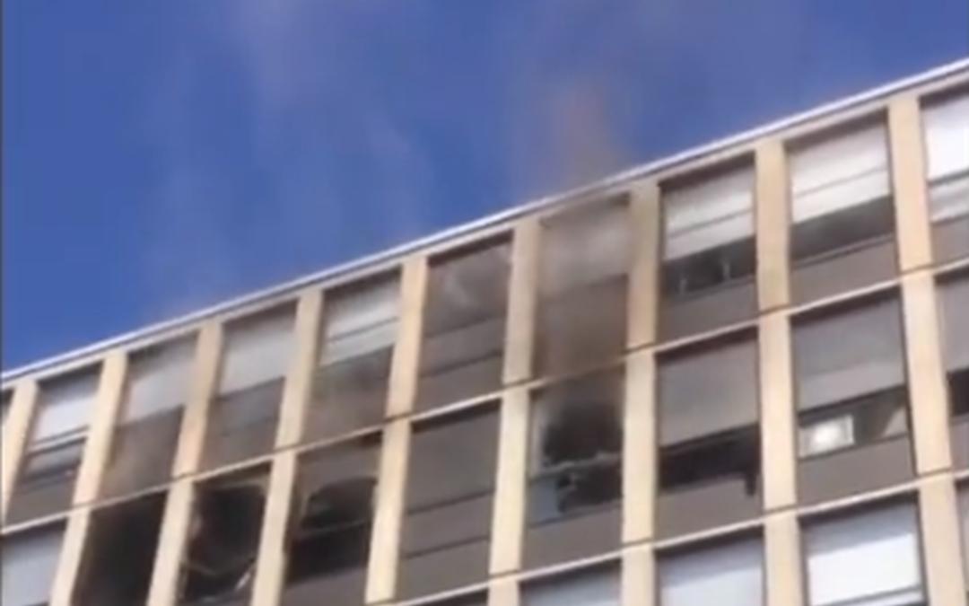 Brand, kat springt uit raam vijfde verdieping