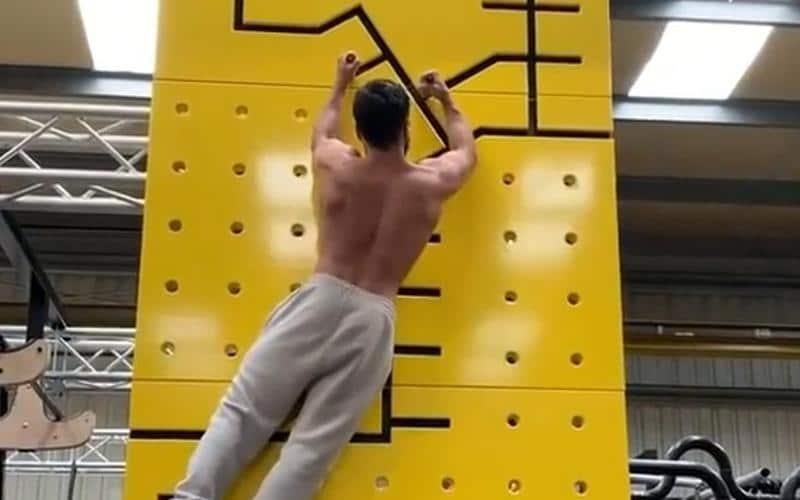 Man werkt zich alleen met zijn armen omhoog